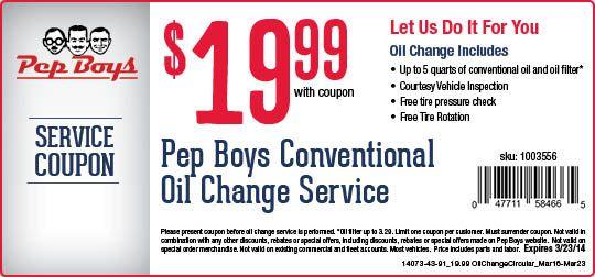 Cheap Oil Change Oil Change Free Printable Coupons Pep Boys