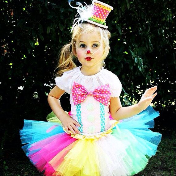 Adorable Clown Tutu Outfit Costume Circus Candy Land Rainbow Halloween Birthday