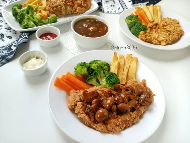 Resep Steak Ayam Crispy Saus Jamur Oleh Sukmawati Rs Resep Resep Steak Resep Jamur Jamur