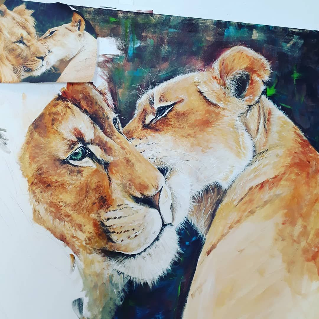 Dont know how many hours i spent and how much i will but start to look good❤😁 #lions #leo #longprocess #work #artwork #lotofhours #artist #acrylicpainting #process #yllonkapryor #masterpiece #instaart #creation #creativity #creatives #picture #contemporaryart #instaartist #graphic #graphics #figurativeart #figurativepainting #photooftheday #animalpain