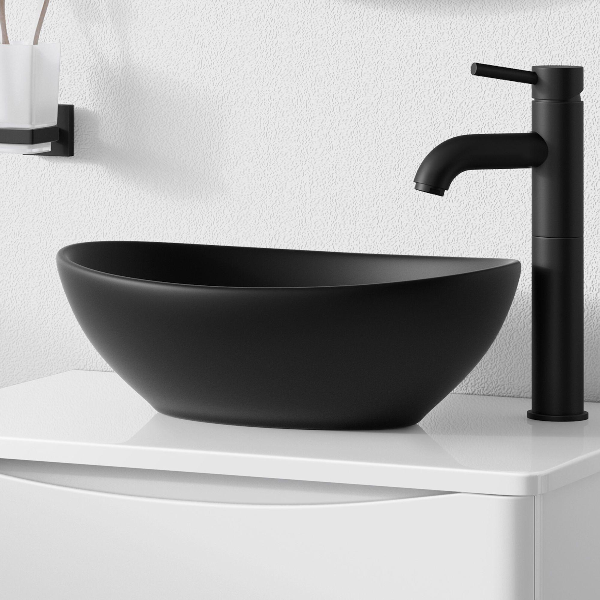Iker Matte Black Counter Top Basin Countertop Basin Black