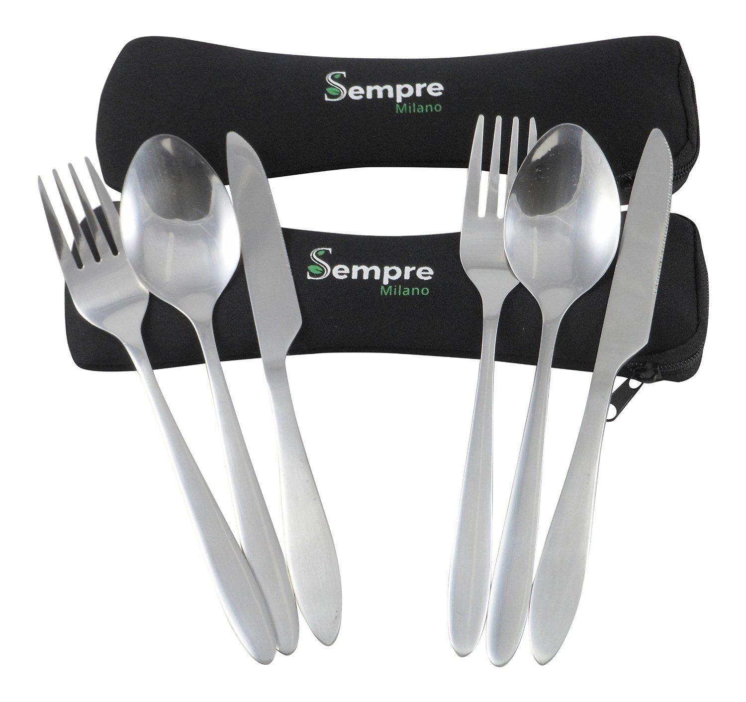 Camping Travel Cutlery Set in Case To Go. 3 Piece Stainless Steel ...