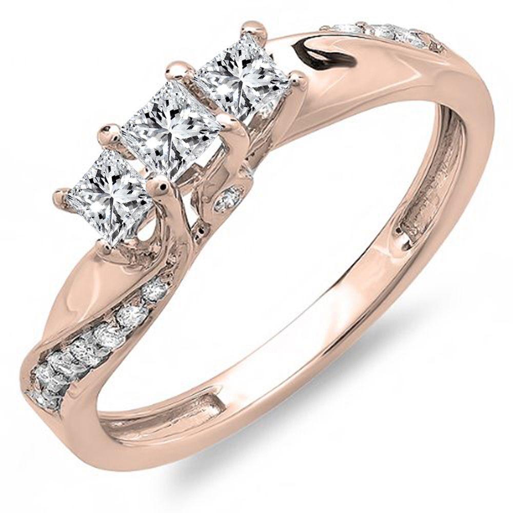 Elora 10k Gold 1/2ct TDW 3-Stone Swirl Design Diamond Ring (H-I, I1-I2) (Size 6 - Rose Gold), Women's, Pink