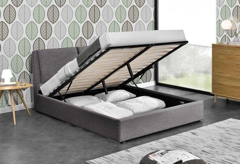 Lit Coffre Tissu Gris Fonce Kelia 180x200 Cm Lit Coffre Mobilier De Salon Modele De Lit