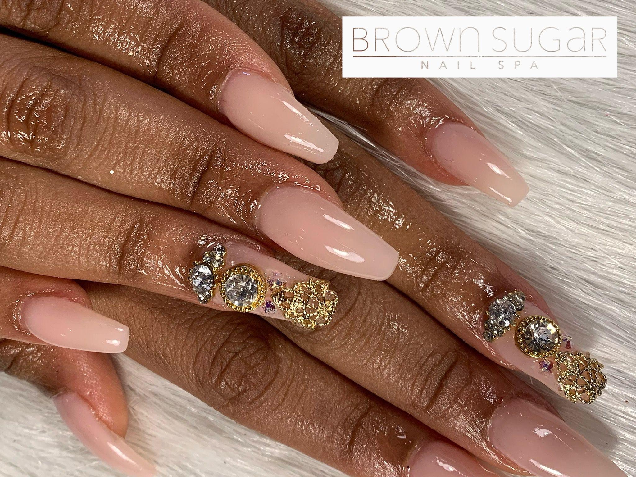 #nails #nailart #nailpolish #bling #blingnails #blingbling #pink #pinknails #youngnails #swarovski #swarovskinails #swarovskicrystals #accentnails #brownsugarnailspa  #weddingnails