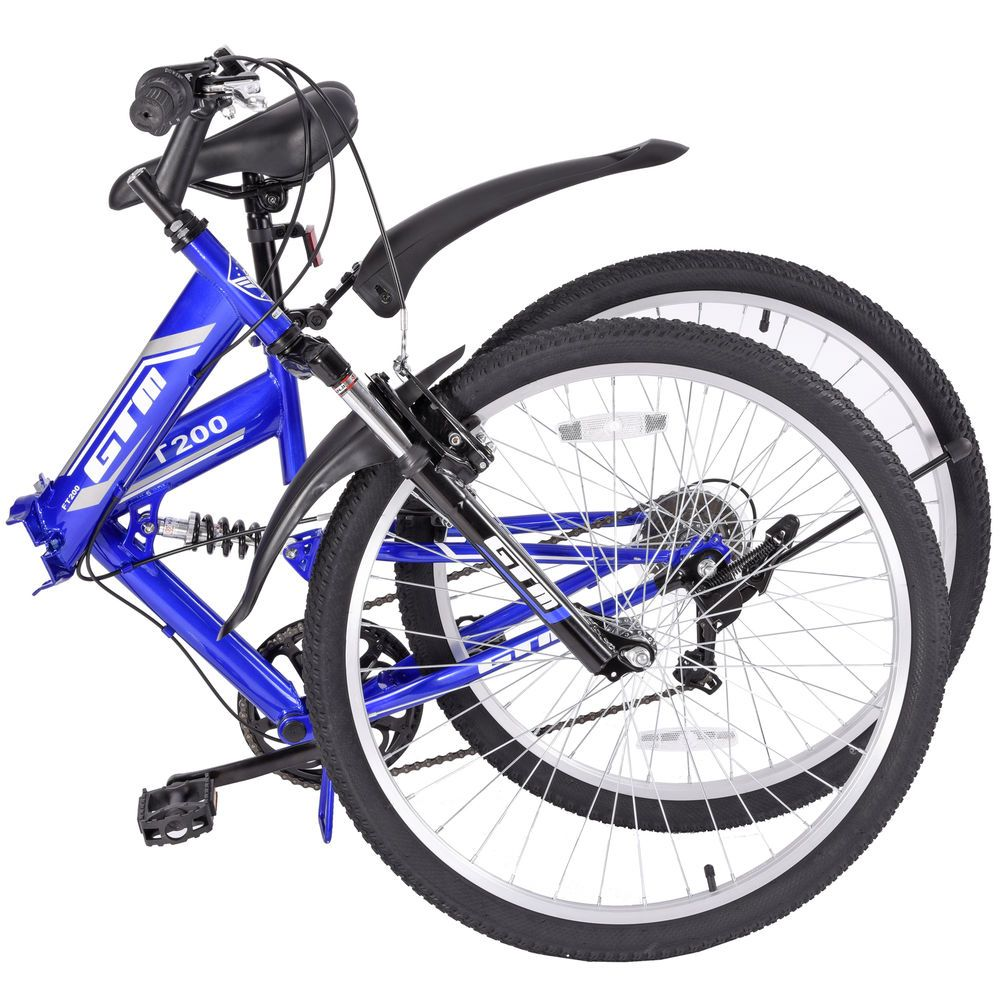 7 Speed Blue Bicycle Folding Mountain Bike Shimano Hybrid