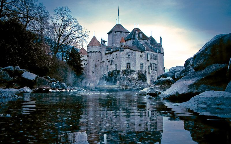 Beautiful castle with lake and rocks