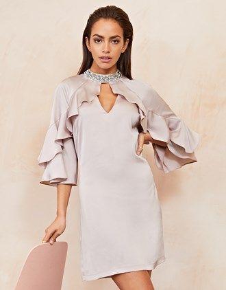 Cheap Pick A Best Embellished Ruffle Satin Shift Dress - Pink Lipsy Cheap Sale Cheap zKpMXhjxYV