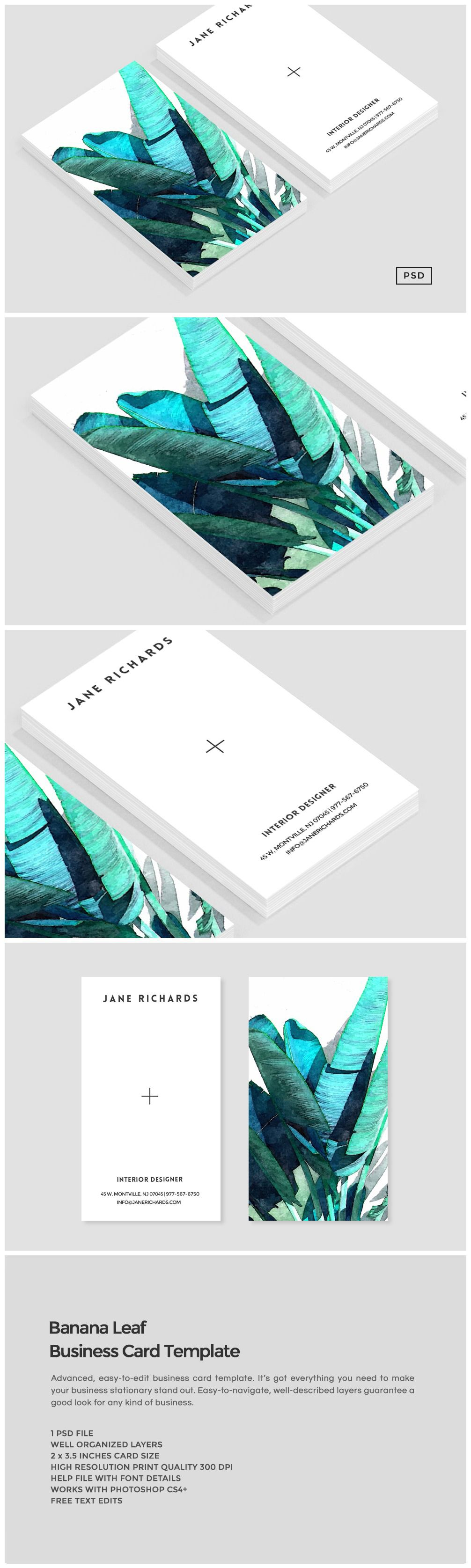Banana Leaf Business Card Template | Tarjetas personales, Tarjetas y ...