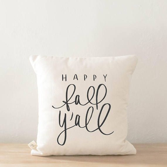 Throw Pillow - Happy Fall Y'all, calligraphy, home decor, fall decor, housewarming gift, cushion cover, throw pillow, seasonal pillow #ad