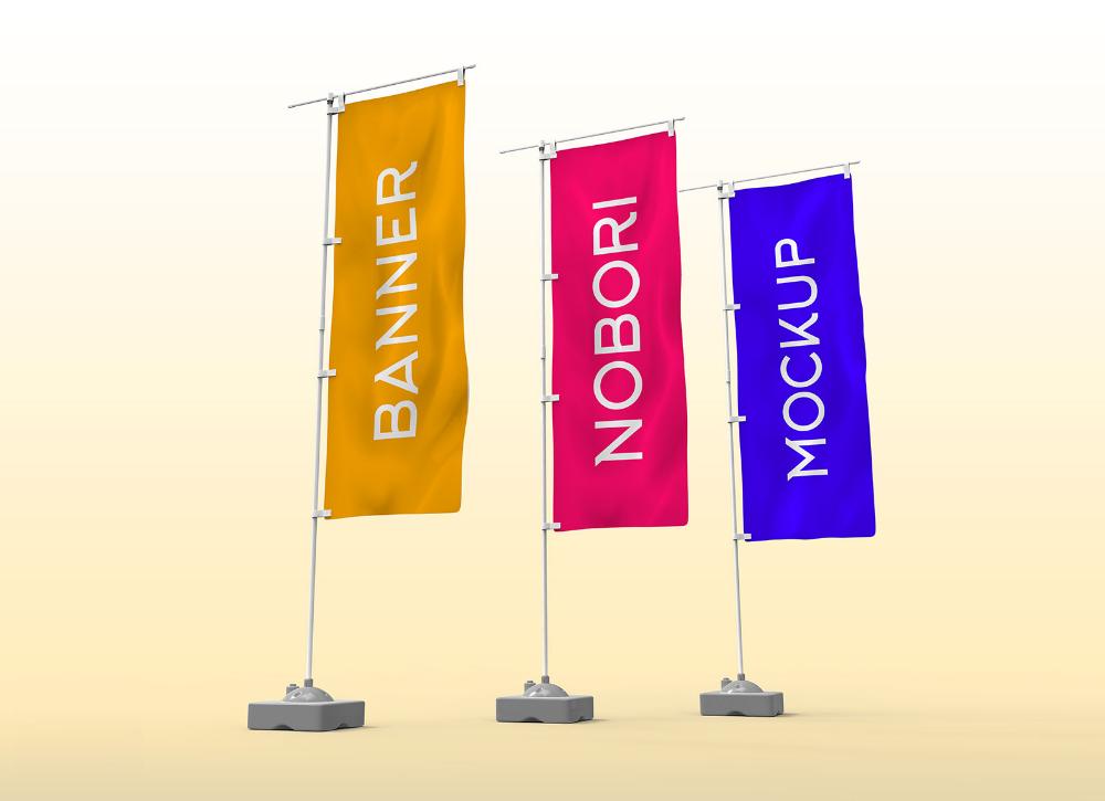 Free Nobori Flag Pole Hanging Banner Mockup Psd Good Mockups Hanging Banner Flag Pole Mockup