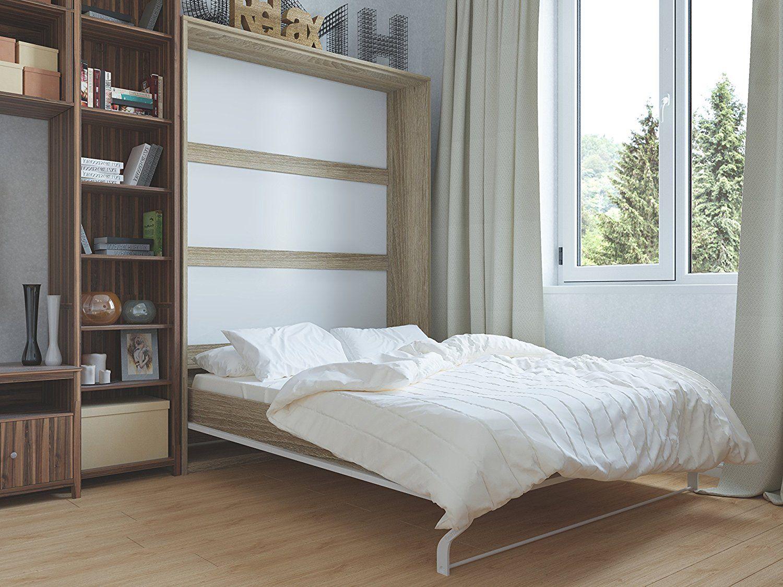 Schrankbett 140 x200cm Vertikal Weiß, ideal als Gästebett