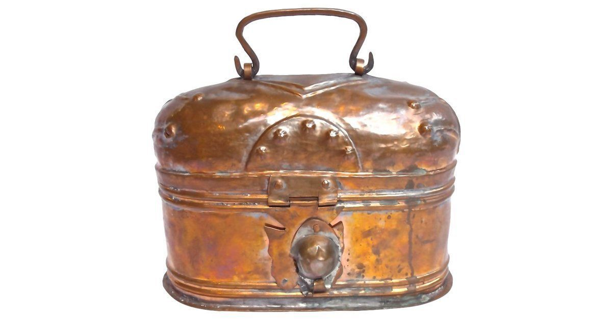 Antique copper lunch box with hinged barrel style lid and