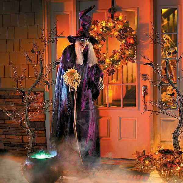 Improvements 6\u0027 Animated Standing Halloween Witch ($50) ❤ liked on - halloween decorations at home