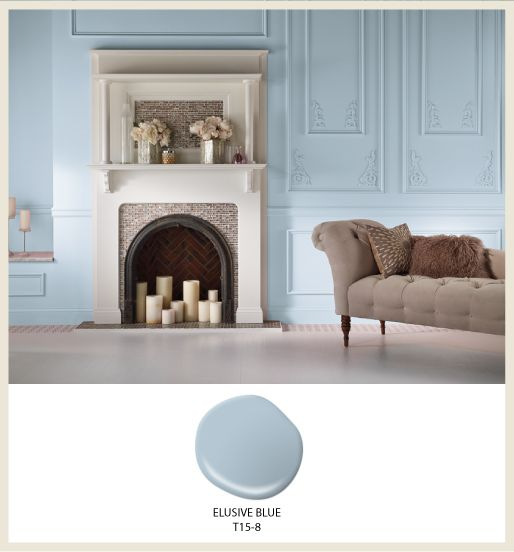 breezy living room with pastel blue interior paint color in elusive