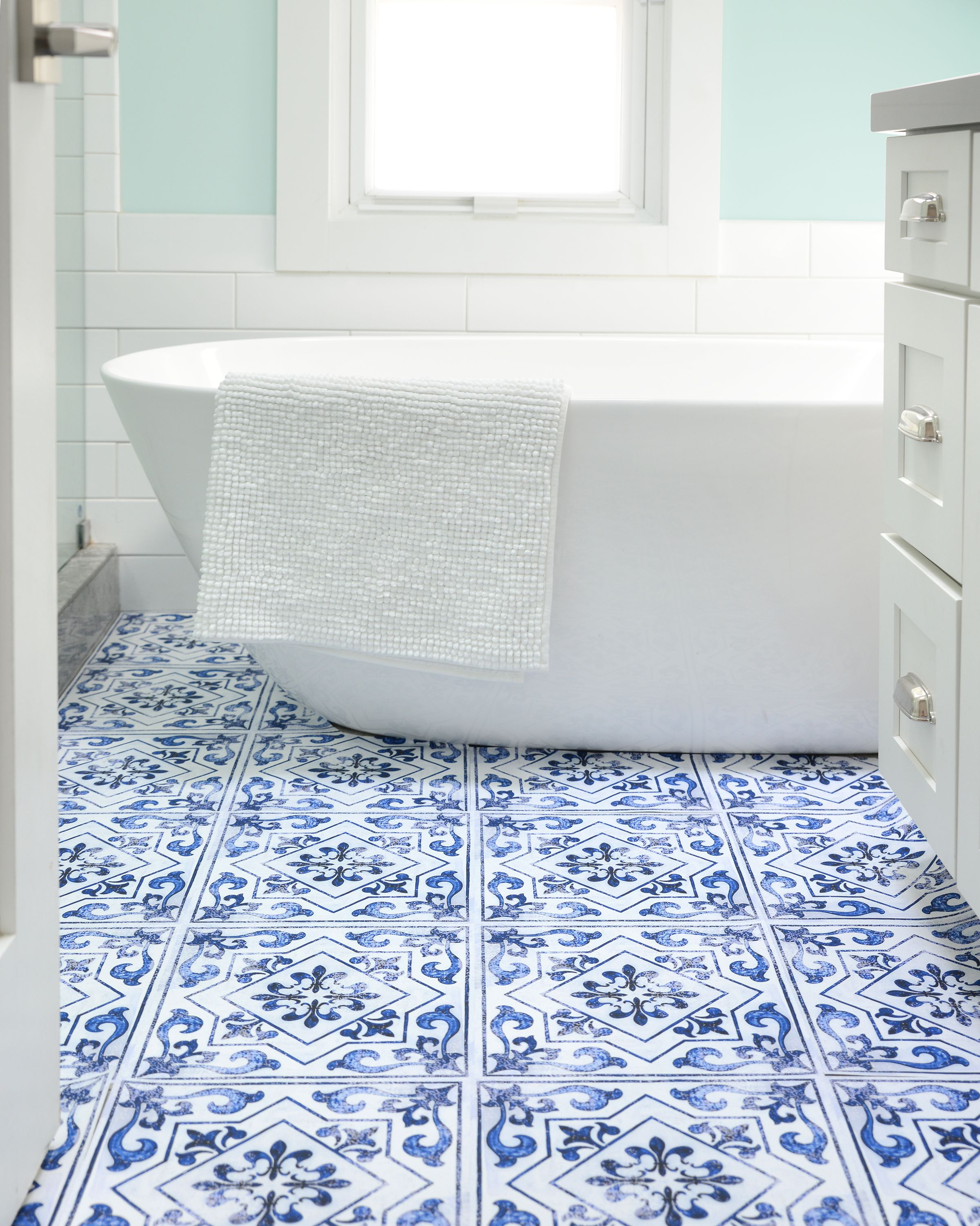After The Success Of Our Blue Moroccan Applique We Wanted To Create A Similar Tile But With A Twist Our Light Blue Vinyl Flooring Vinyl Installation Flooring