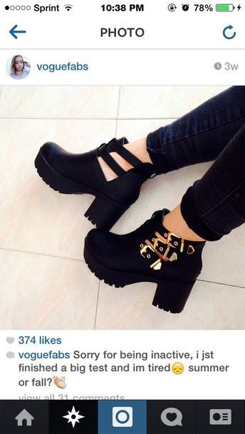 jeans black boots buckles gold buckles chunkyplatform boots ...