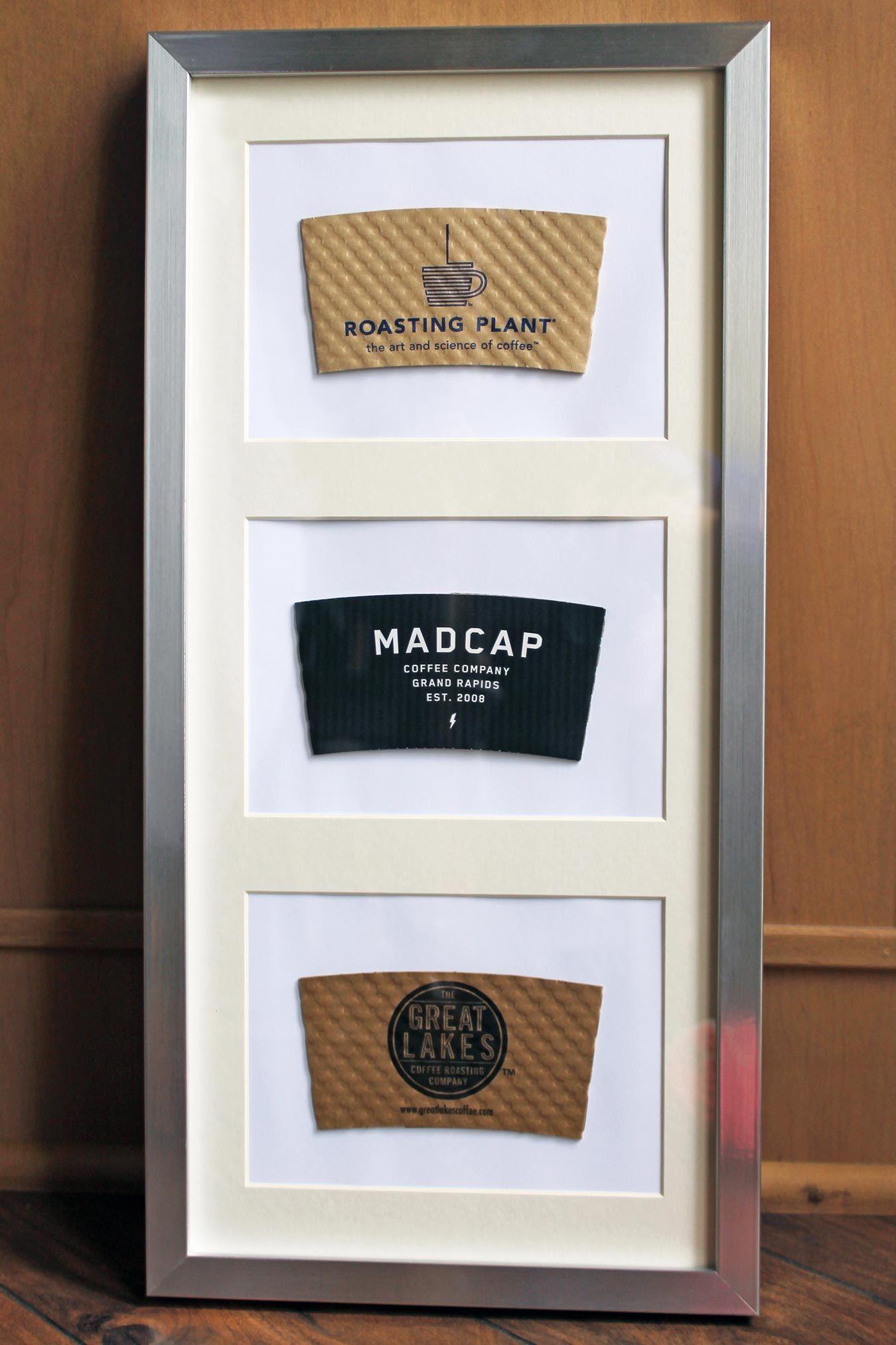 How to repurpose coffee sleeves as wall art starbucks pinterest