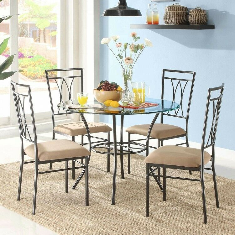 Details About 5 Piece Glass Metal Dining Set Round Table 4 Chairs Upholstered Seats Cushions Metal Dining Room Chairs Dining Room Sets Dining Room Table