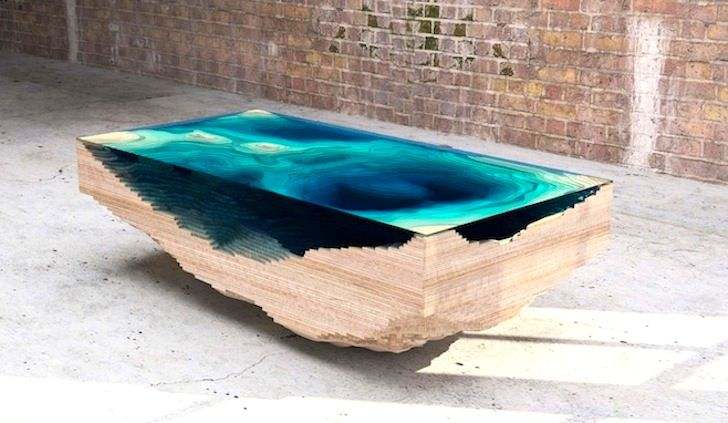 Amazing Abyss Table Layers Glass and Wood to Mimic the Depths ...