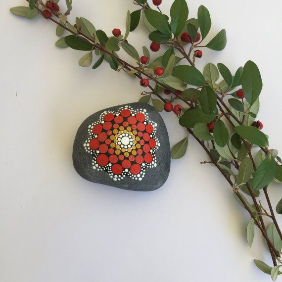 Handpainted Mandala Stone, Mandala Art, Mandala Gift, Doffee table decor, Acrylic paints