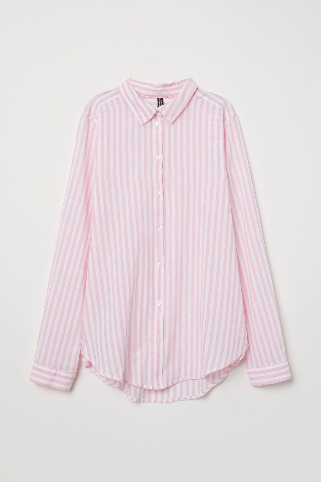 b84ba927e57 Cotton Shirt - Light pink white striped - Ladies
