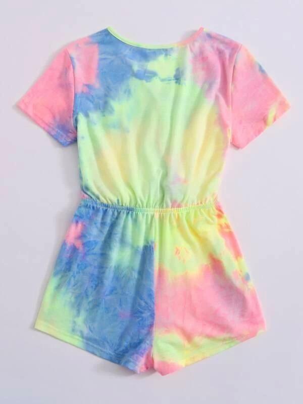 Pelele con sobrepelliz lavado con efecto tie-dye para niñas  – Moda