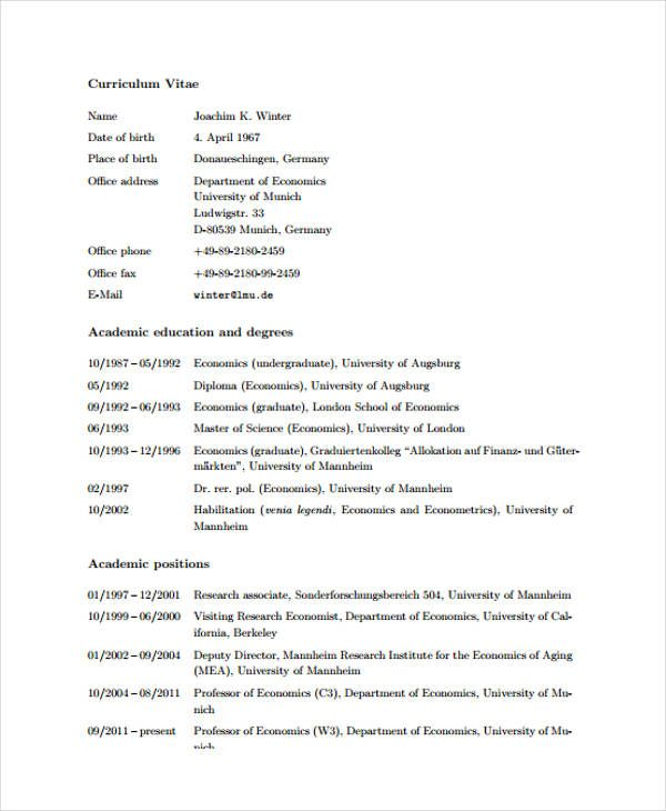 Cv Template Academia 1-Cv Template Cv template, Templates ve