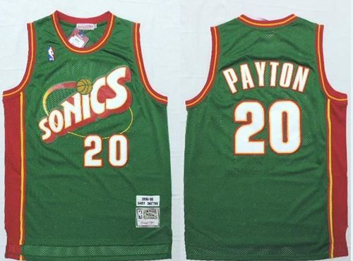 huge discount 8d2d1 ec66e Mitchell And Ness Thunder #20 Gary Payton Green SuperSonics ...