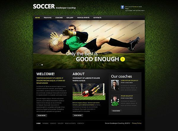 Soccer Team Website Template | An outstanding set of templates you ...
