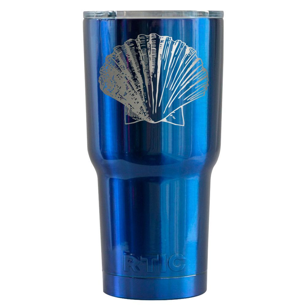 RTIC 30 oz Tumbler Scallop Shell Engraved on Blue Translucent