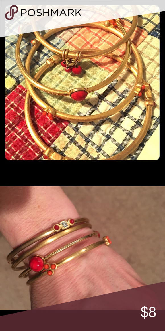 Express gold and red bangles! So cute | Bangle, Jewelry bracelets ...