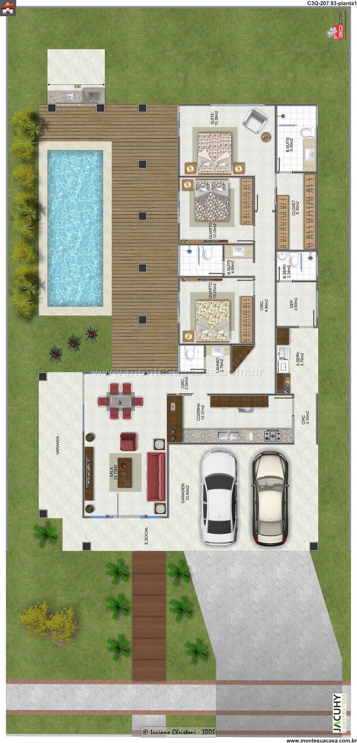 Casa 2 quartos architecture engineering arq for Casa moderna 90m2