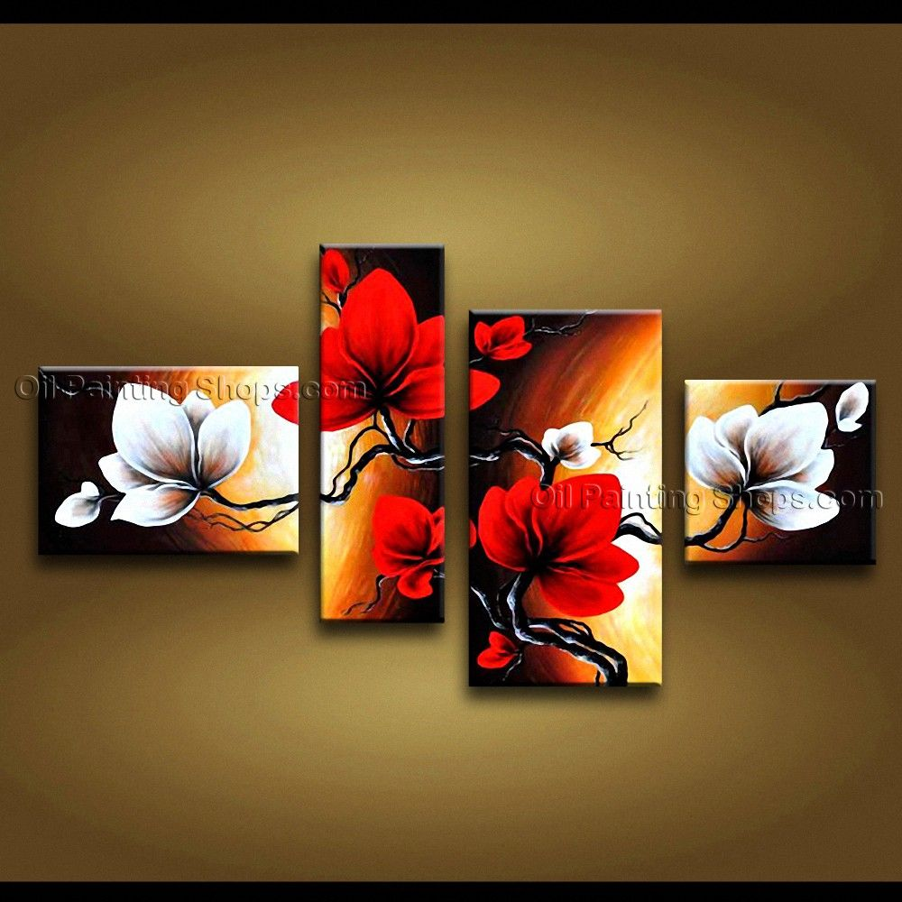 tetraptych contemporary wall art floral painting tulip flower on canvas art in 2018 pinterest. Black Bedroom Furniture Sets. Home Design Ideas