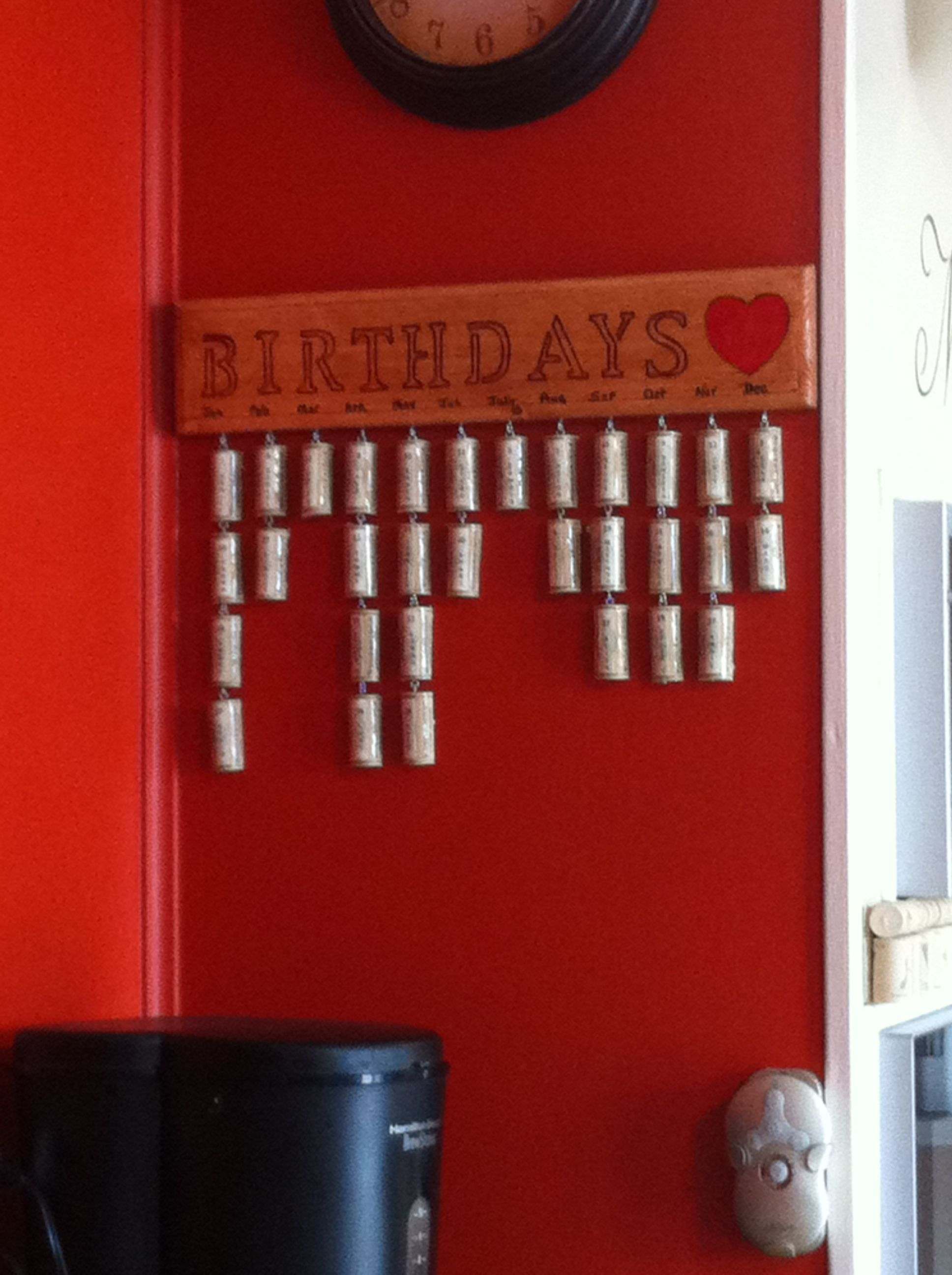 My Wine Cork Version Of The Birthday Board Birthday Reminder Board Wooden Calendar Birthday Reminder