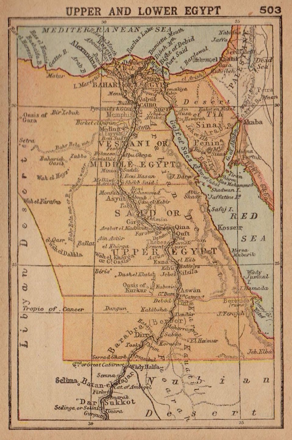 RARE Antique EGYPT Map W NUBIA Map ABYSSINIA Map RARE - Map of egypt 1920