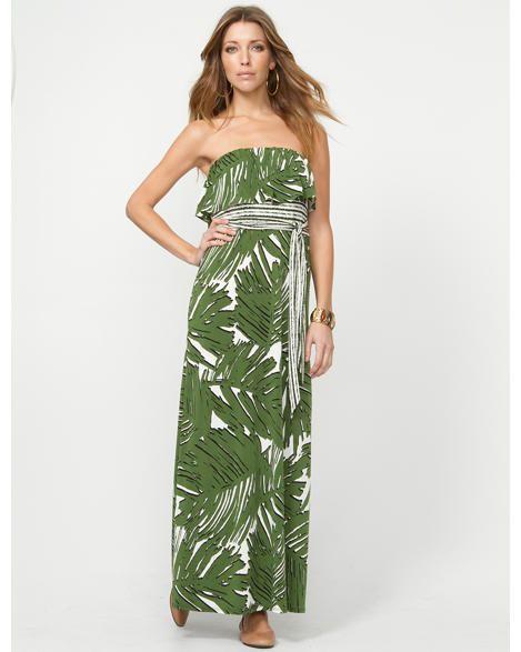 Leaf Print Maxi Dress with Self Tie