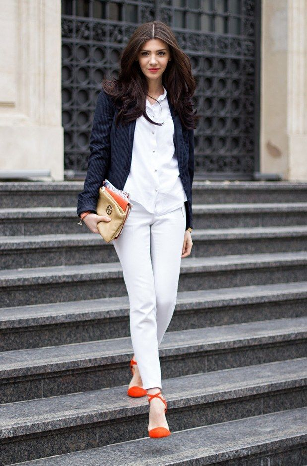 60a08f9bd55 Minimalist white on navy blue. Structured jacket with white pants and white  button blouse. Clean lines and fresh look.