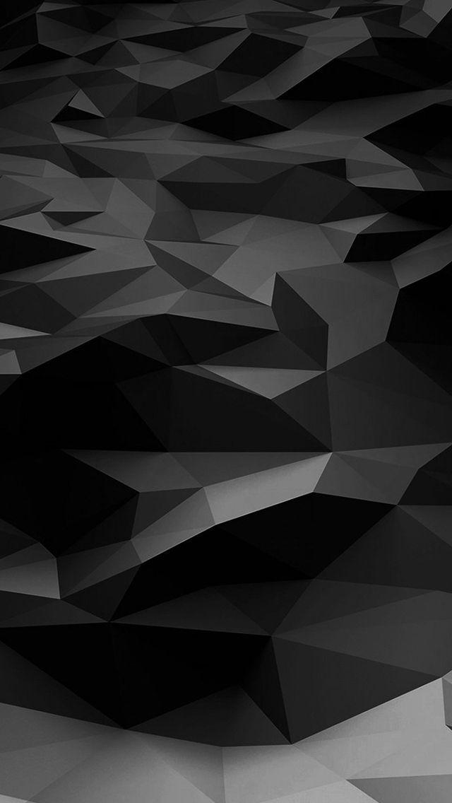 Low Poly Art Dark Bw Pattern Iphone 5s Wallpaper Black