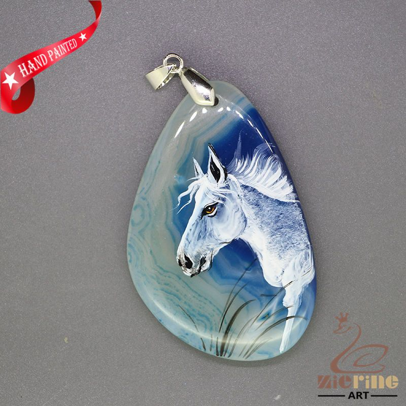 HAND PAINTE ARABIANHORSE PENDANT FOR NECKLACE GEMSTONE WITH SILVER BAIL ZL807537 #ZL #Pendant
