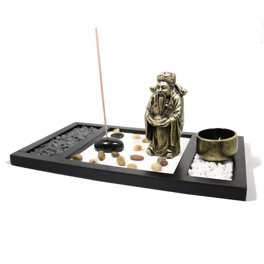 Zen garden god of fortune rocks tealight incense holder feng shui in
