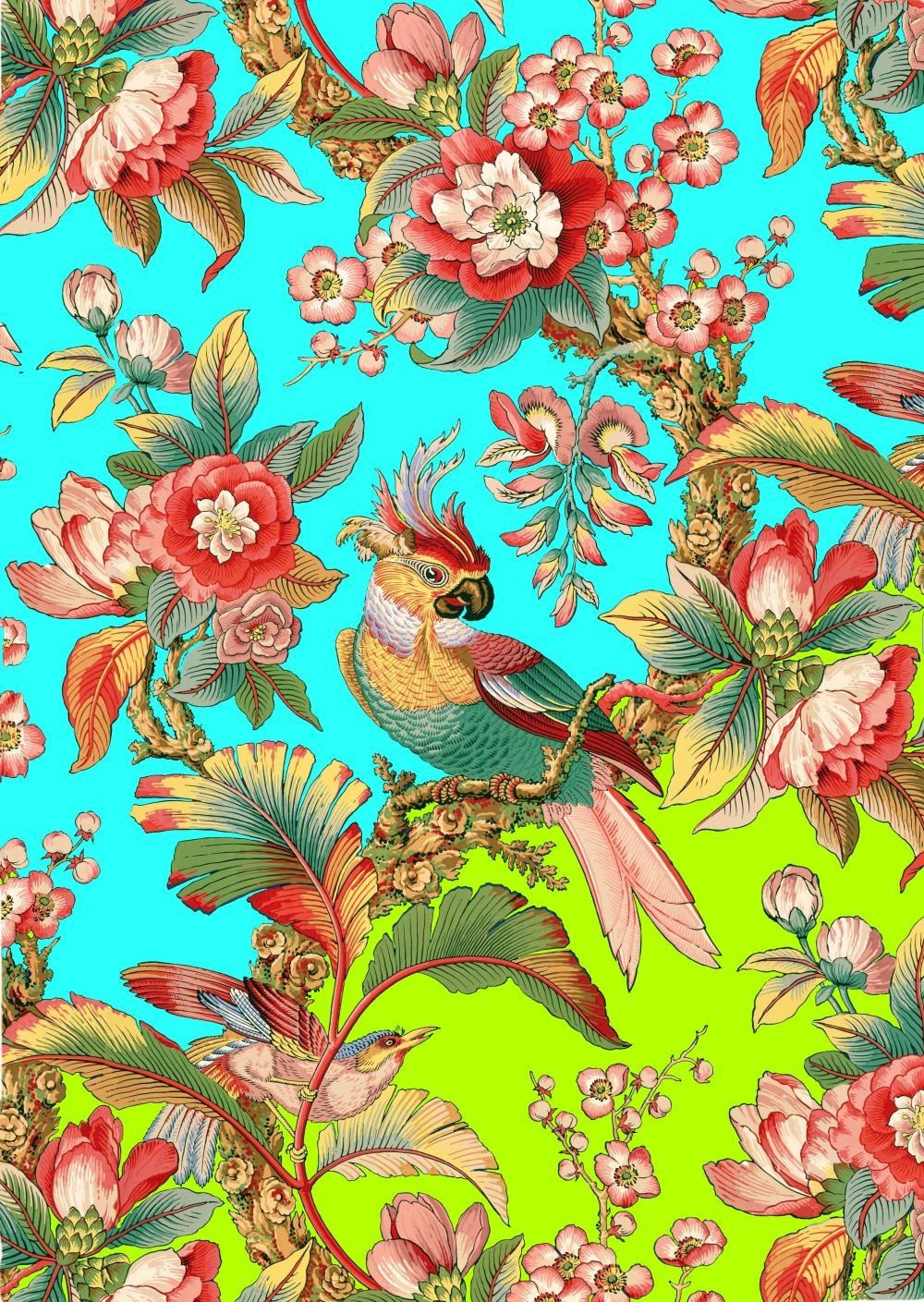 Antique French Chinoiserie Tropical Wallpapertropical Bird Etsy Chinoiserie Wallpaper Tropical Flowers Illustration French Illustration