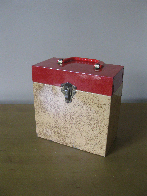 Vintage Record Box 45 Rpm Record Holder Includes 25 Records Record Case Storage Box File Box Carrying Case Re Record Boxes Record Case Vinyl Record Box
