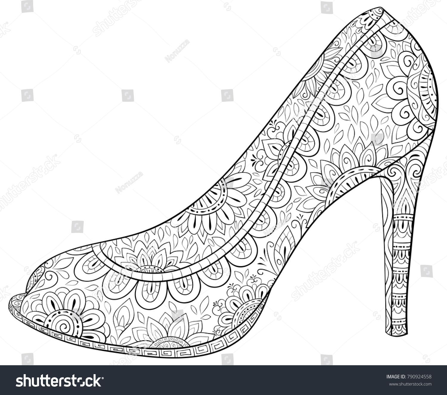 Adult Coloring Page Book A High Heel Shoes For Relaxing Zen Art