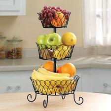 Black 3 Tier Fruit Basket Space Saving Holder Storage Kitchen Home  Decoration