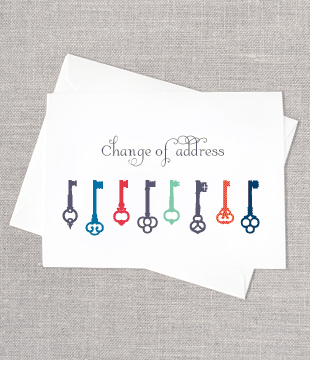 Pin By Susan Leroy On Cards Key Themed New Home Cards Change Of Address Cards Change Of Address
