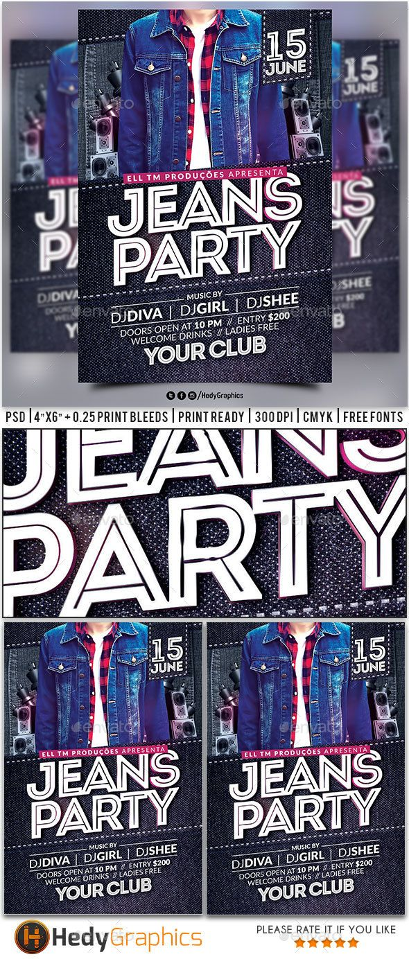Poster design jeans - Jeans Party Flyer Photoshop Psd Fashion Night Girl Download Https