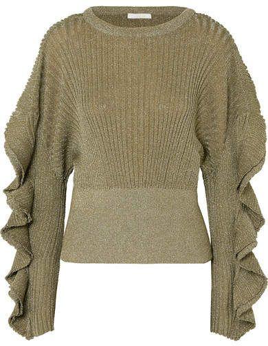 8e5dec79037d Ruffled Metallic Ribbed Stretch Silk-blend Sweater - Gold #trimmed#threads# metallic