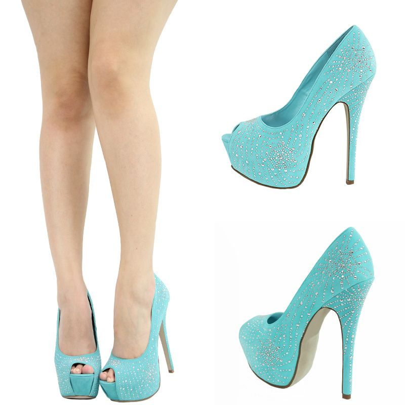 Details about MINT AQUA BLUE SILVER STUD PEEPTOE HIGH HEEL