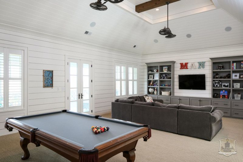 Greystone Country House In Kentucky By Stonecroft Homes Garage Game Rooms Game Room Layout Pool Table Room